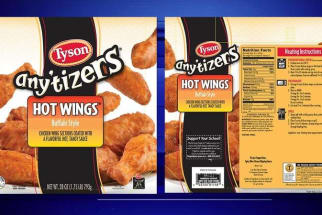 Recalled Tyson Hot Wings