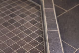 Bathroom Custom Shower Pan with Gray Floor Tile
