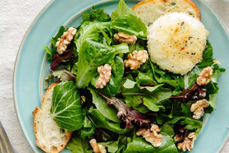 Recipe: Alice Waters' Baked Goat Cheese with Spring Lettuce Salad
