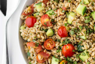 Recipe: Summer Farro Salad with Tomatoes, Cucumbers & Basil