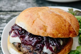 Beef Burgers with Cabernet Onion Jam