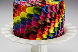 Colorful cake with natural food coloring