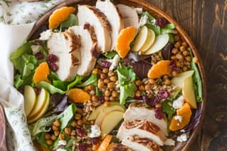 Turkey Farro Salad with Candied Chickpeas and Clementine Vinaigrette