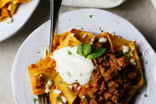 Pappardelle with Za'atar Lamb Bolognese and Yogurt Ricotta
