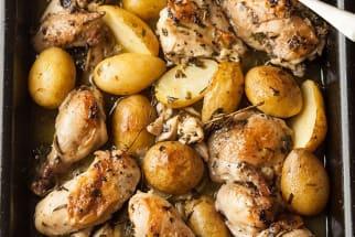 Roast Chicken in White Wine, Herbs, and Garlic