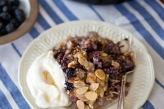 Baked Buckwheat Oatmeal with Blueberries and Almonds