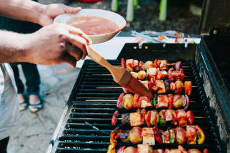 Vegetable Kebabs on a Grill