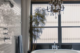 Loft Bath with Modern Dramatic Glamour