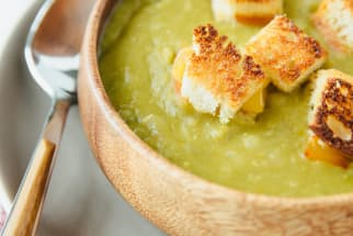Vegetarian Split Pea Soup and Grilled Cheese Croutons
