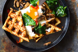 Gluten-Free Cheesy Chickpea Waffles with Buttered Basil Mushrooms