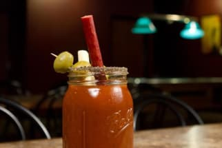 Bloody Mary with Meat Straw