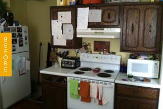 Dark brown kitchen before remodel