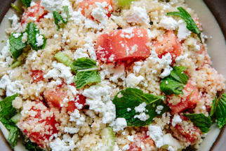 Minted Summer Couscous with Watermelon and Feta