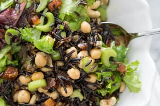 wild rice and mixed green salad