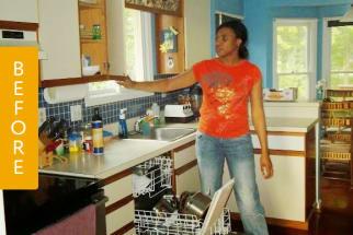 blue kitchen before remodel