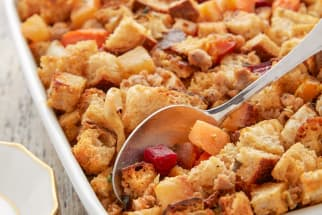 Roasted Root Vegetable and Sausage Stuffing