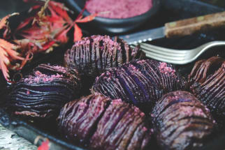 Hasselback Potatoes with Beetroot and Pepperberry Salt
