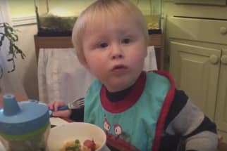 Adorable Kid Can't Find Fork
