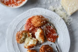 Fontina, Roasted Garlic, and Goat Cheese Arancini