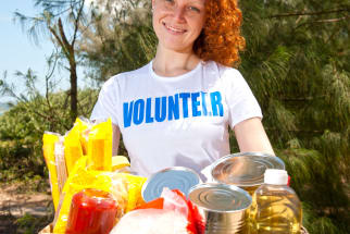 Food bank volunteer