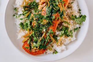 Seared salmon with soy, ginger, and scallions