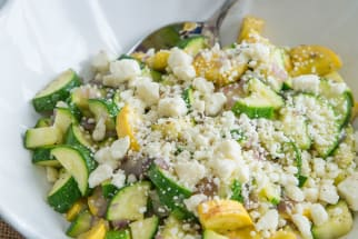 Sautéed Zucchini and Squash with Thyme and Feta