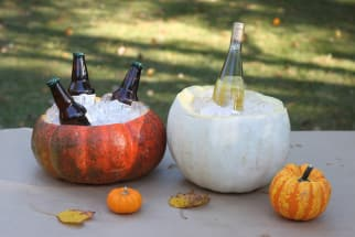 turn a pumpkin into an ice bucket