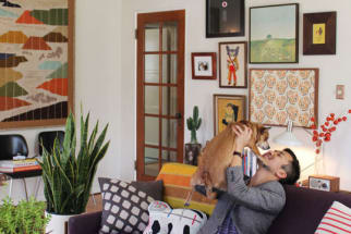 blogger and his dog in an eclectic living room with gallery style artwork and houseplants