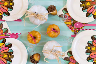 Colorful Kids' Thanksgiving Table
