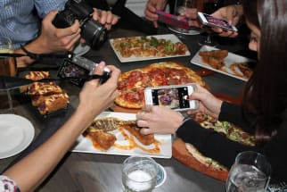 Instagramming at a restaurant