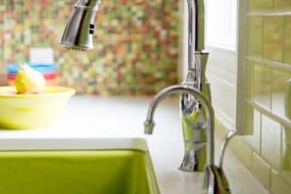 Bright green farmhouse sink