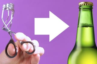 Use an eyelash curler to open a beer bottle
