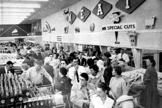 Vintage Photos of Shoppers Inside a Grocery Store
