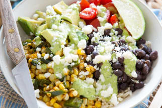Roasted corn and poblano burrito bowl