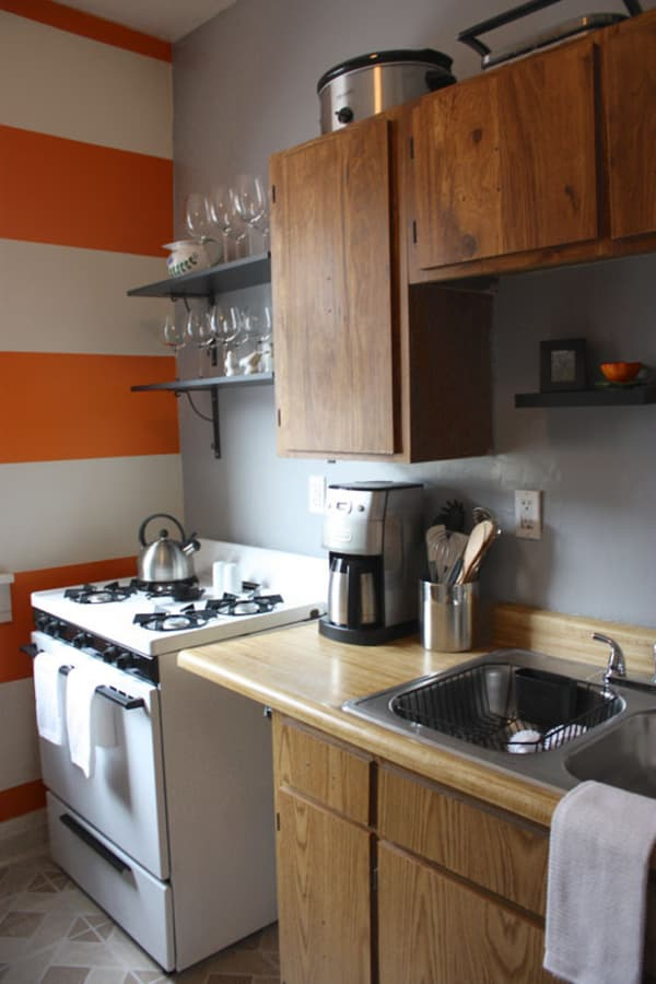 Orange Stripes & Open Shelving