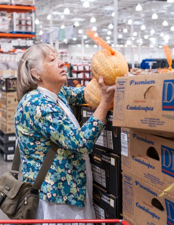 Choosing melons at Costco