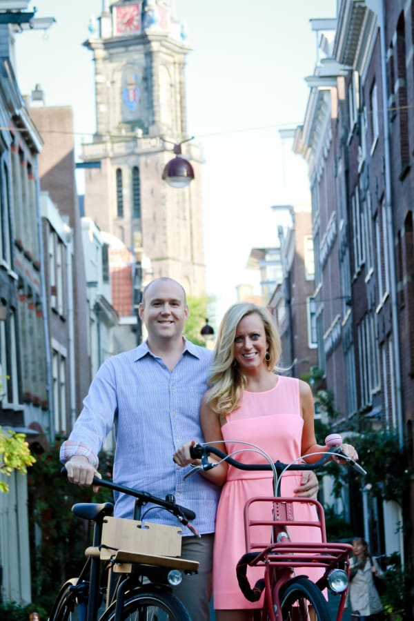 Couple with Bikes in Amsterdam City Center