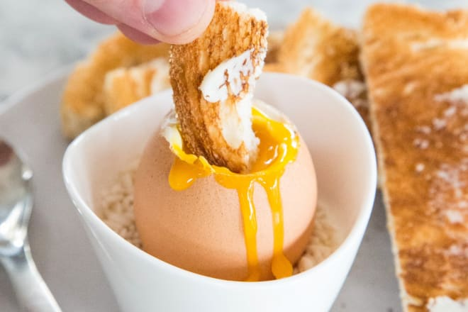 Soft boiled egg with toast soldiers