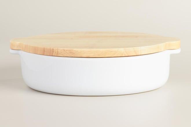 White Ceramic Baker with Wood Trivet Lid | World Market