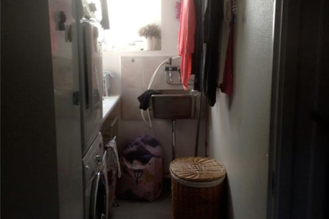 Messy Dark Laundry Room Before Makeover