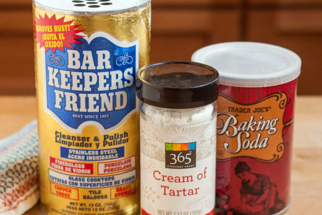Bar Keepers Friend, Cream of Tartar, and Baking Soda