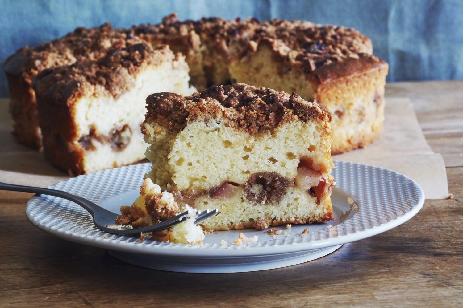 An Autumnal Coffee Cake Filled with Spiced Pecans & Pears