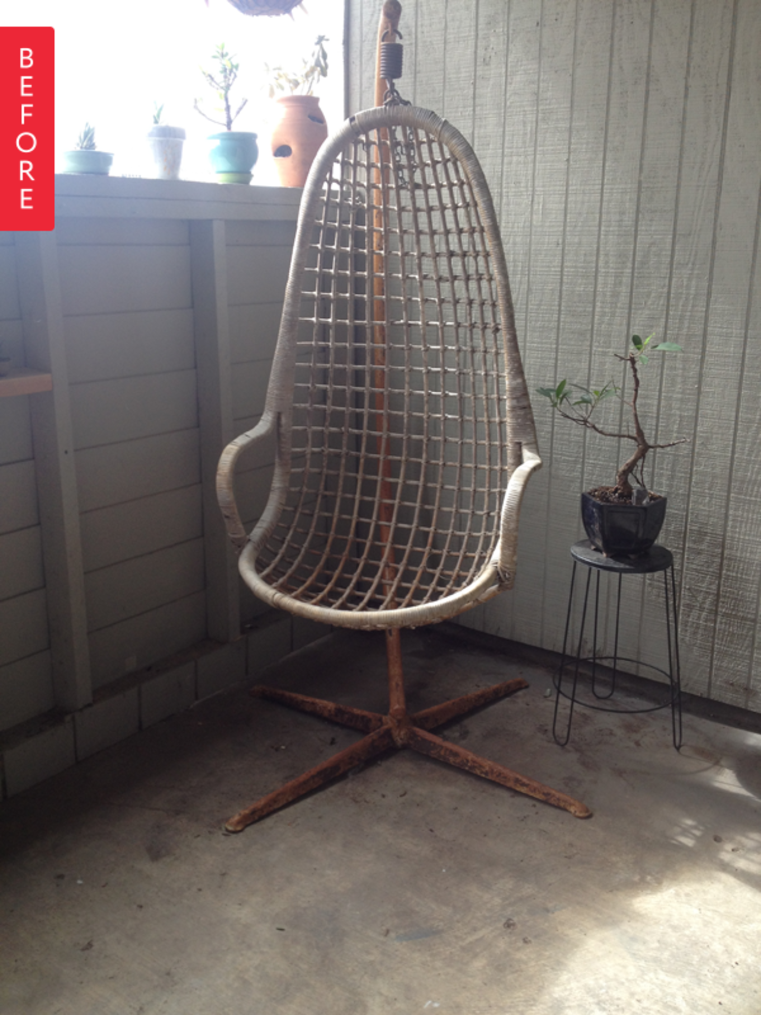 Before &Amp After Grandpas Restored Rattan Hanging Chair - Apartment