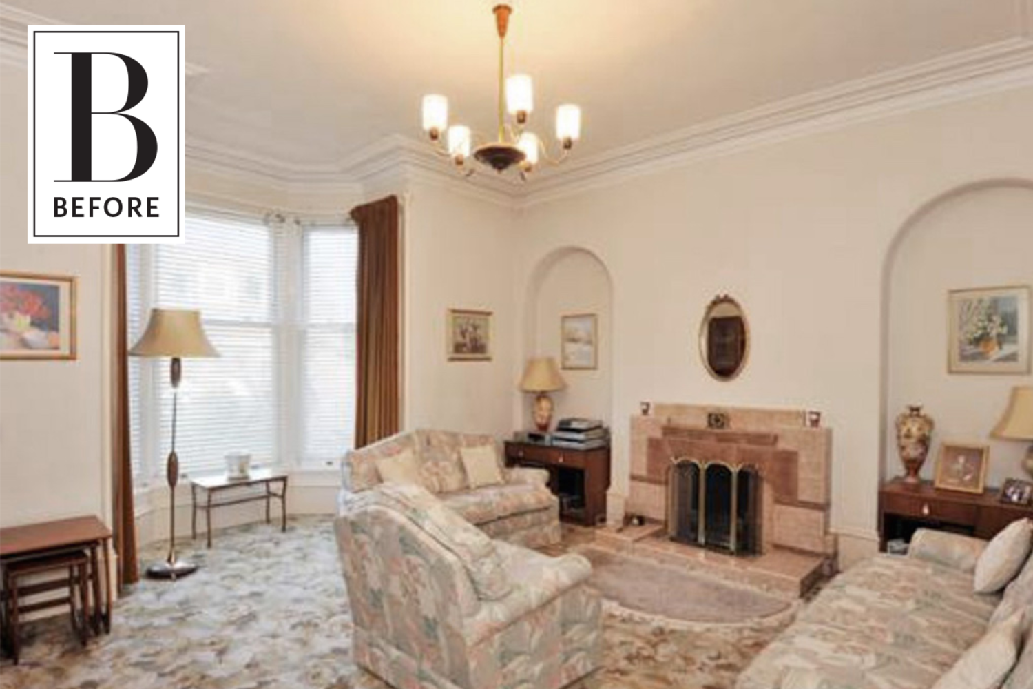 Before & After: A Dated '70s Living Room Gets Dark & Dreamy