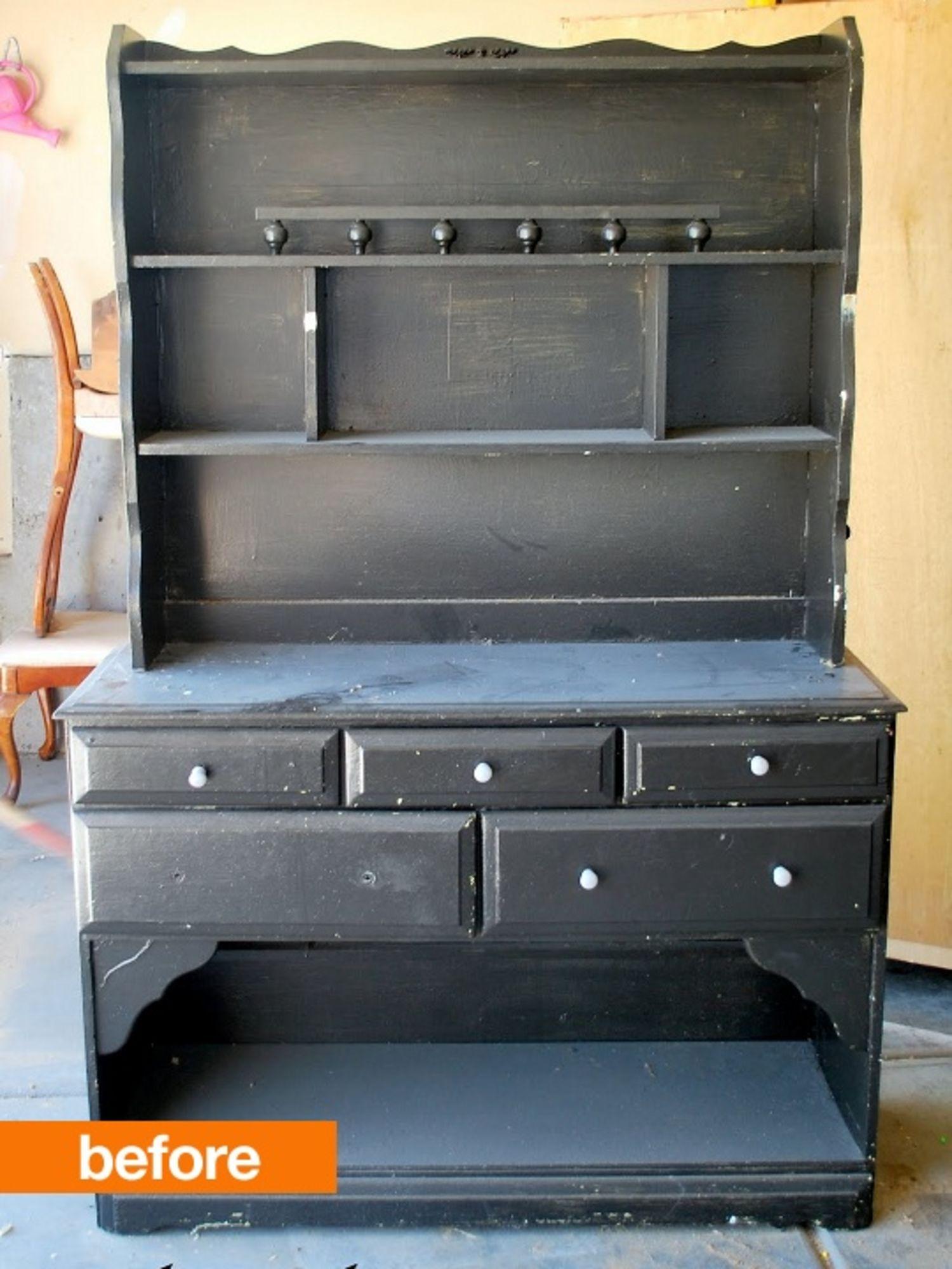Before & After: Trashed Hutch Turned Vanity Dresser