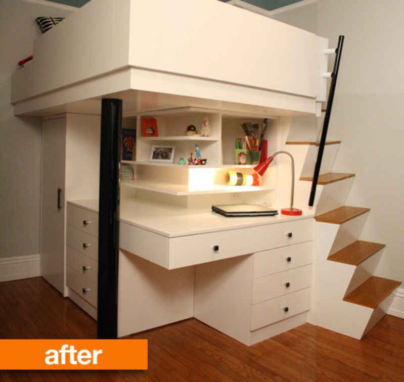 Before & After: Small City Bedroom To Custom Lofted Bed ...