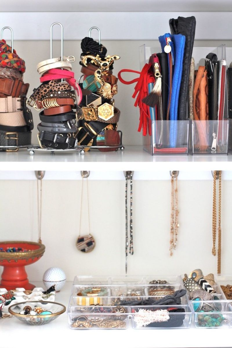 jewelry and accessories organized on white shelves