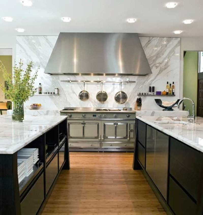 Kitchen Countertops And Backsplash Photos: Aspirational Inspiration: Stone Slab Backsplashes