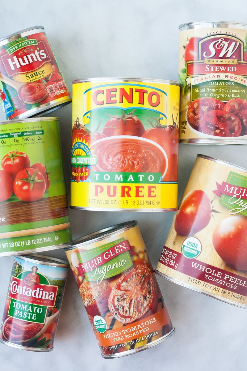Variety of canned tomatoes