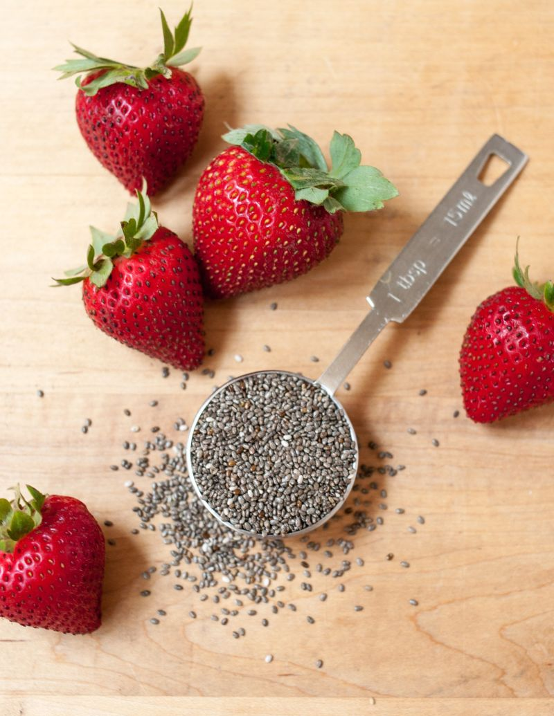 Chia seeds and strawberries